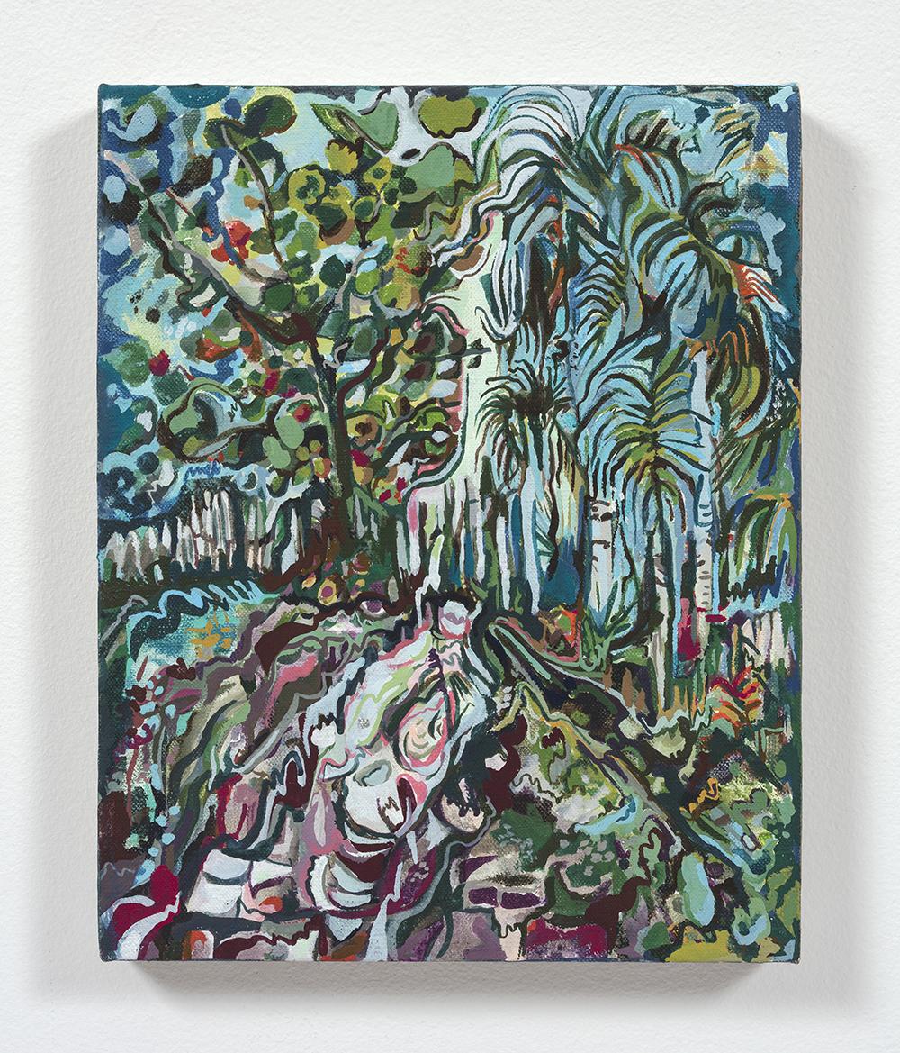 Maria Calandra. <em>Mom's Backyard near the Bayou</em>, 2021. Acrylic on linen over panel, 10 x 8 inches (25.4 x 20.3 cm)