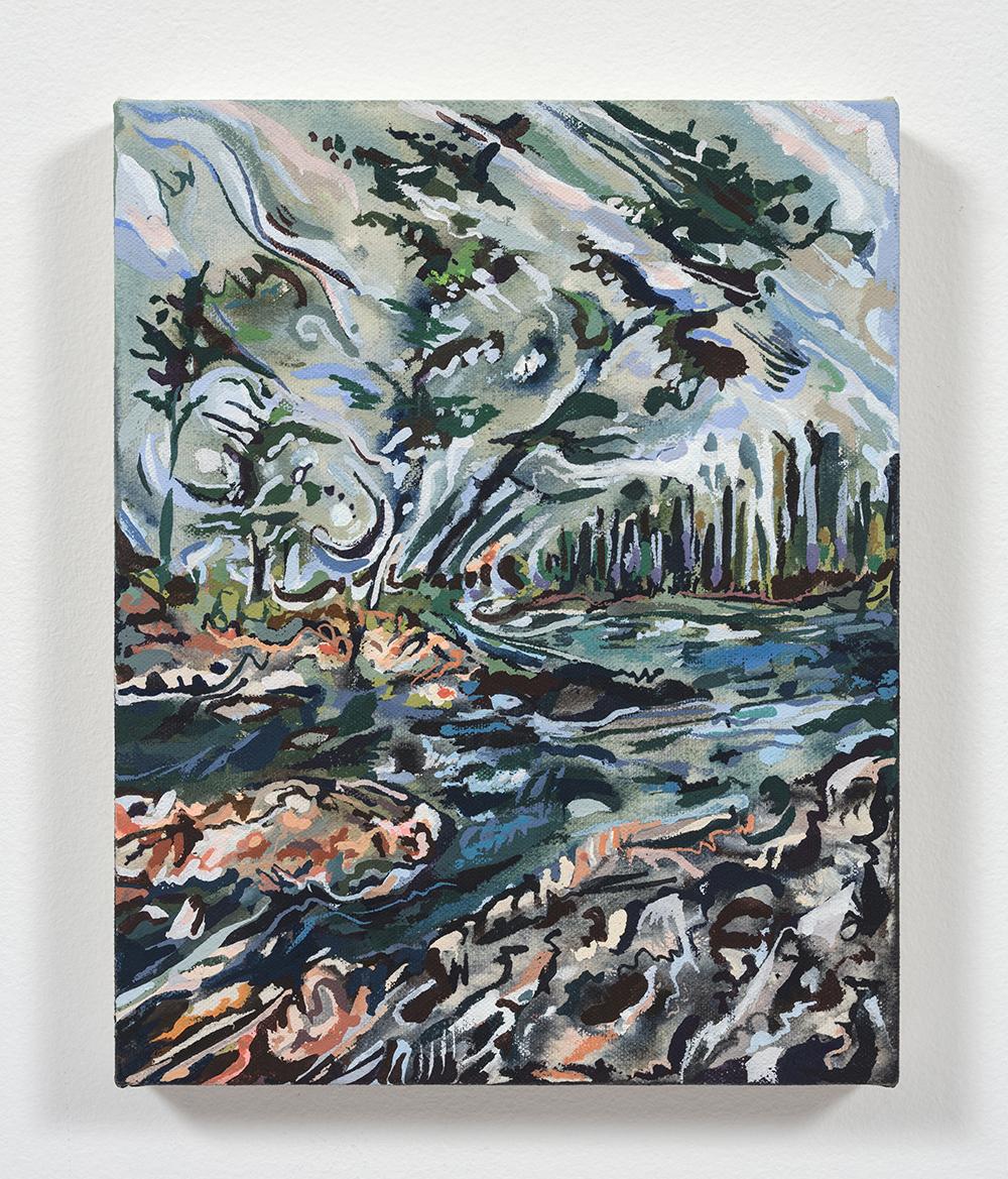 Maria Calandra. <em>Mt Desert Narrows Swim</em>, 2021. Acrylic on canvas over panel, 10 x 8 inches (25.4 x 20.3 cm)