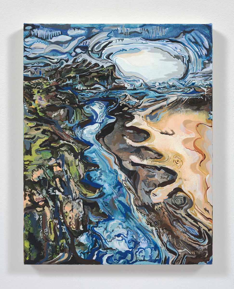 Maria Calandra. <em>Near Fort Bragg</em>, 2021. Acrylic on canvas over panel, 14 x 11 inches (35.6 x 27.9 cm)