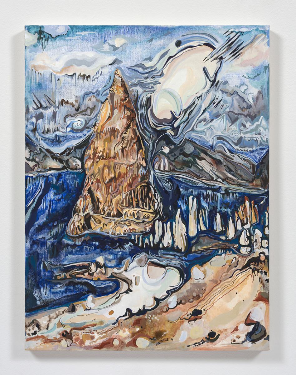 Maria Calandra. <em>Pyramid Lake</em>, 2021. Acrylic on canvas over panel, 24 x 18 inches (61 x 45.7 cm)