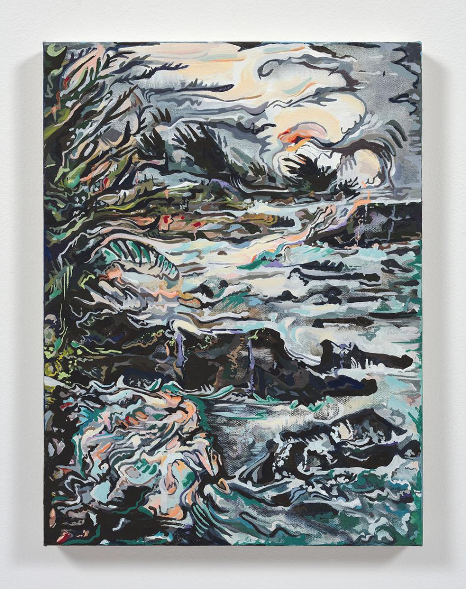 Maria Calandra. <em>Shell Beach at Sea Ranch</em>, 2021. Acrylic on canvas over panel, 16 x 12 inches (40.6 x 30.5 cm)