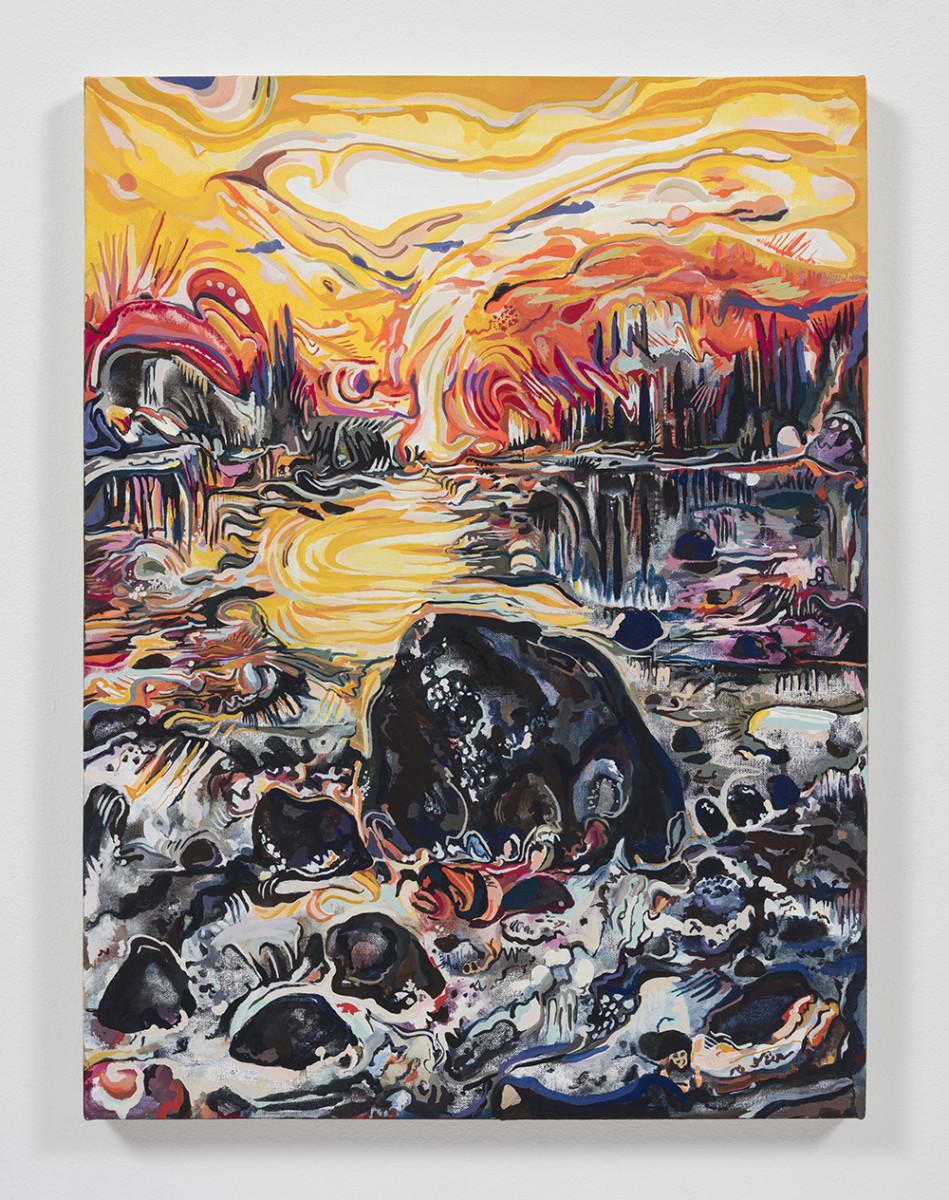 Maria Calandra. <em>Spring Sunset at Naskeag</em>, 2021. Acrylic on canvas over panel, 24 x 18 inches (61 x 45.7 cm)