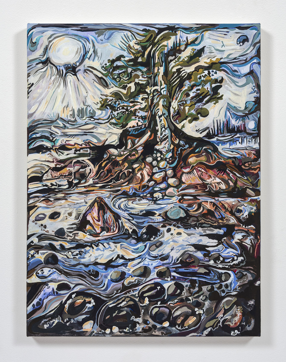 Maria Calandra. <em>Winter Kissing Trees at Flye Point</em>, 2021. Acrylic on canvas over panel, 24 x 18 inches (61 x 45.7 cm)