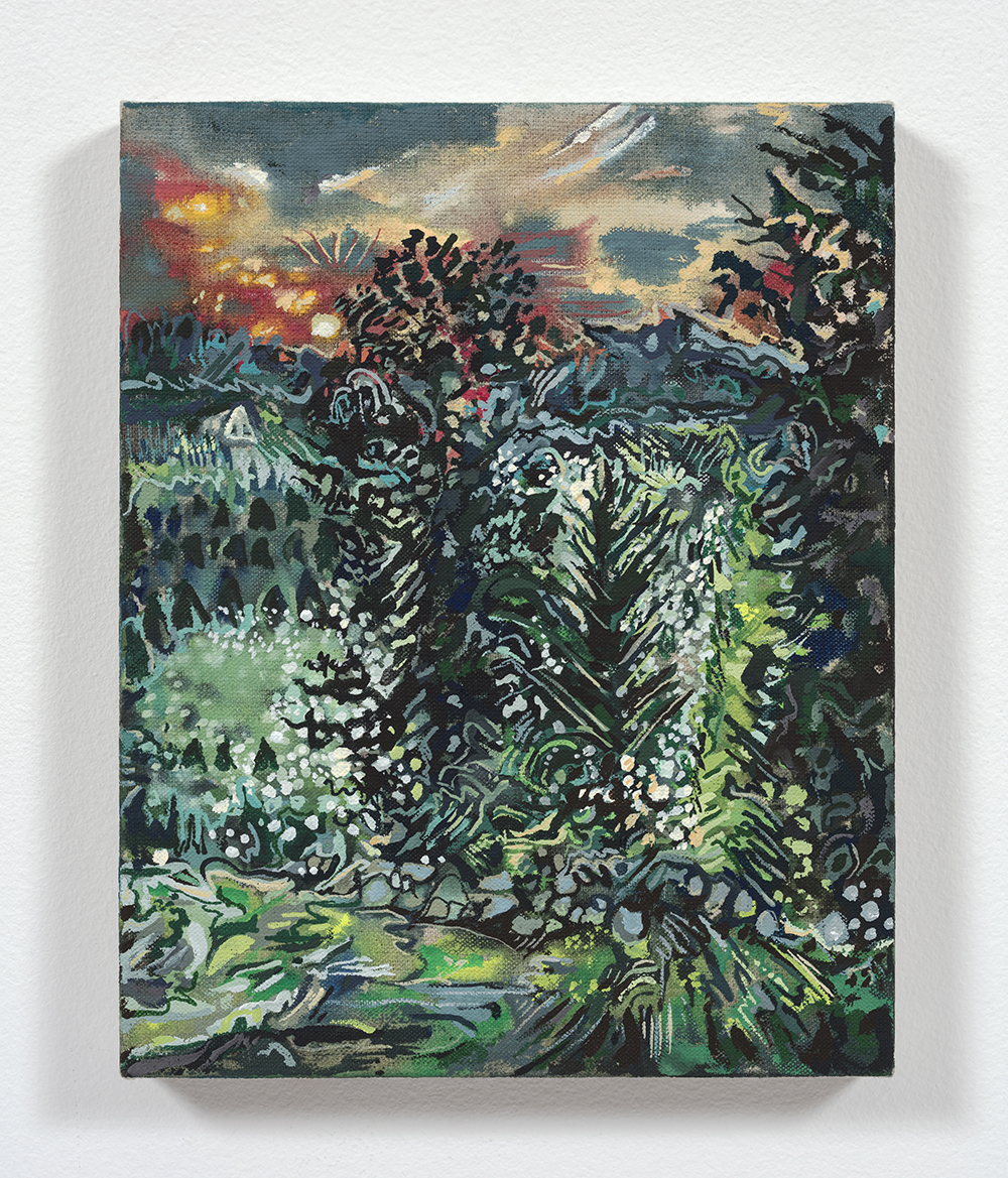Maria Calandra. <em>Sunrise on Sleekonk Road</em>, 2021. Acrylic on linen over panel, 10 x 8 inches (25.4 x 20.3 cm)