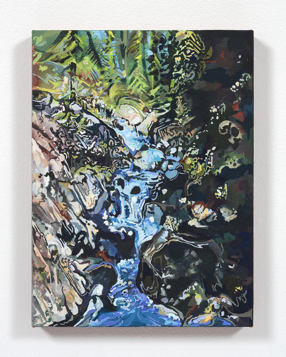 Maria Calandra. <em>Loves Falls (Sierra City)</em>, 2021. Acrylic on colored canvas over panel, 12 x 9 inches (30.5 x 22.9 cm)