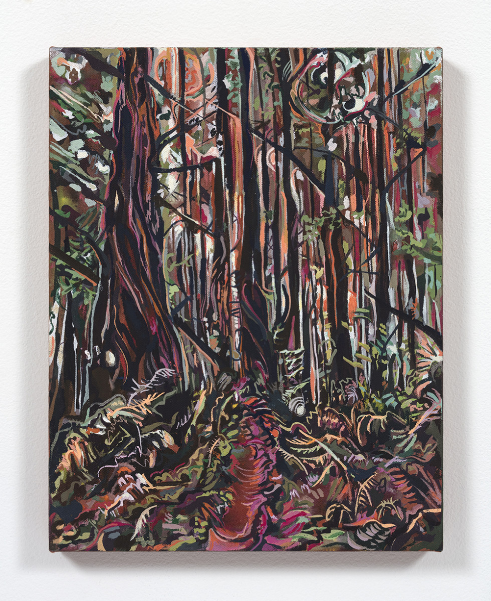 Maria Calandra. <em>Tall Tree Grove (Redwood National Park)</em>, 2021. Acrylic on colored canvas, 14 x 11 inches (35.6 x 27.9 cm)