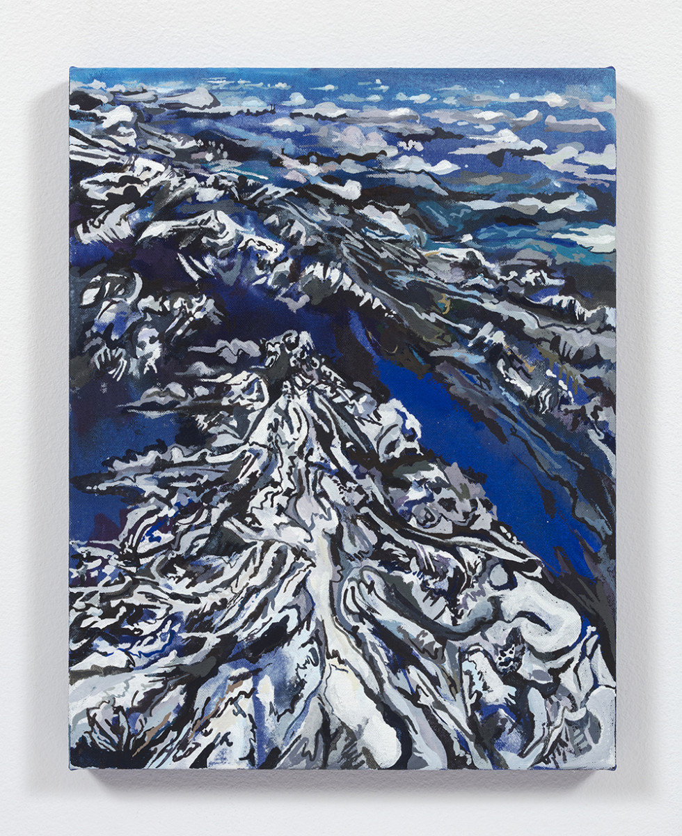 Maria Calandra. <em>Alps from the Air</em>, 2021. Acrylic on canvas over panel, 14 x 11 inches (35.6 x 27.9 cm)