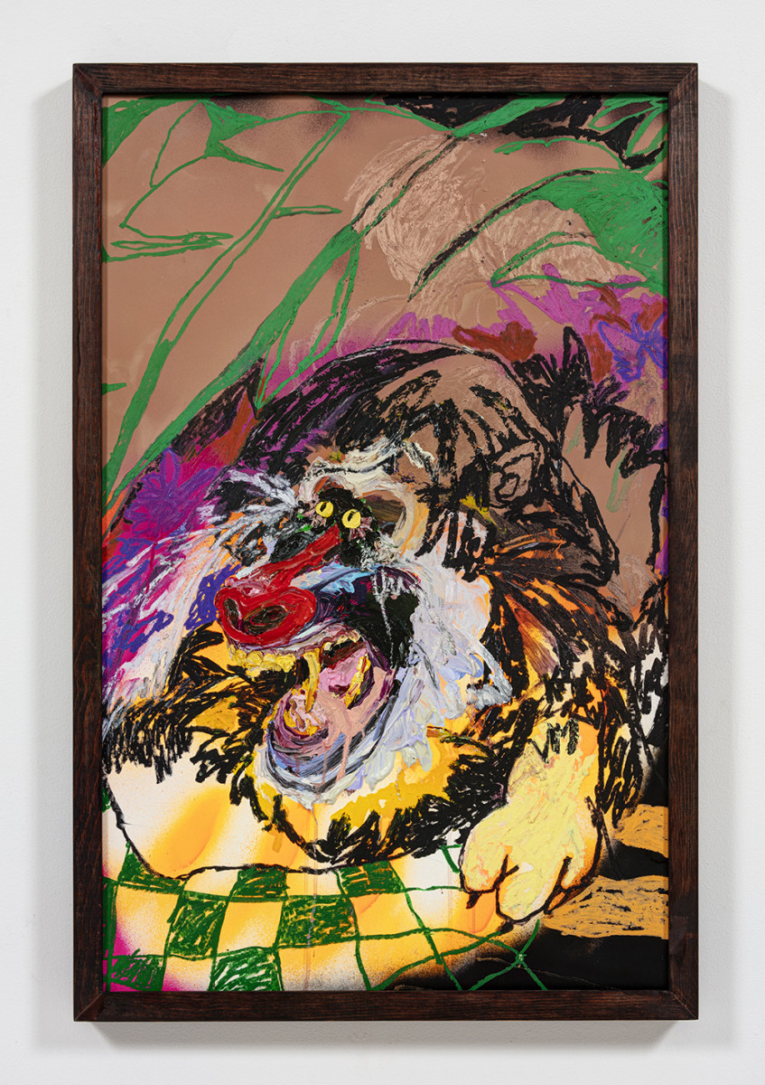 Bianca Fields. <em>Easy, Green and Unseen</em>, 2021. Acrylic, oil and spray paint on yupo paper mounted on canvas with artist frame, 40 x 26 inches (101.6 x 66 cm)