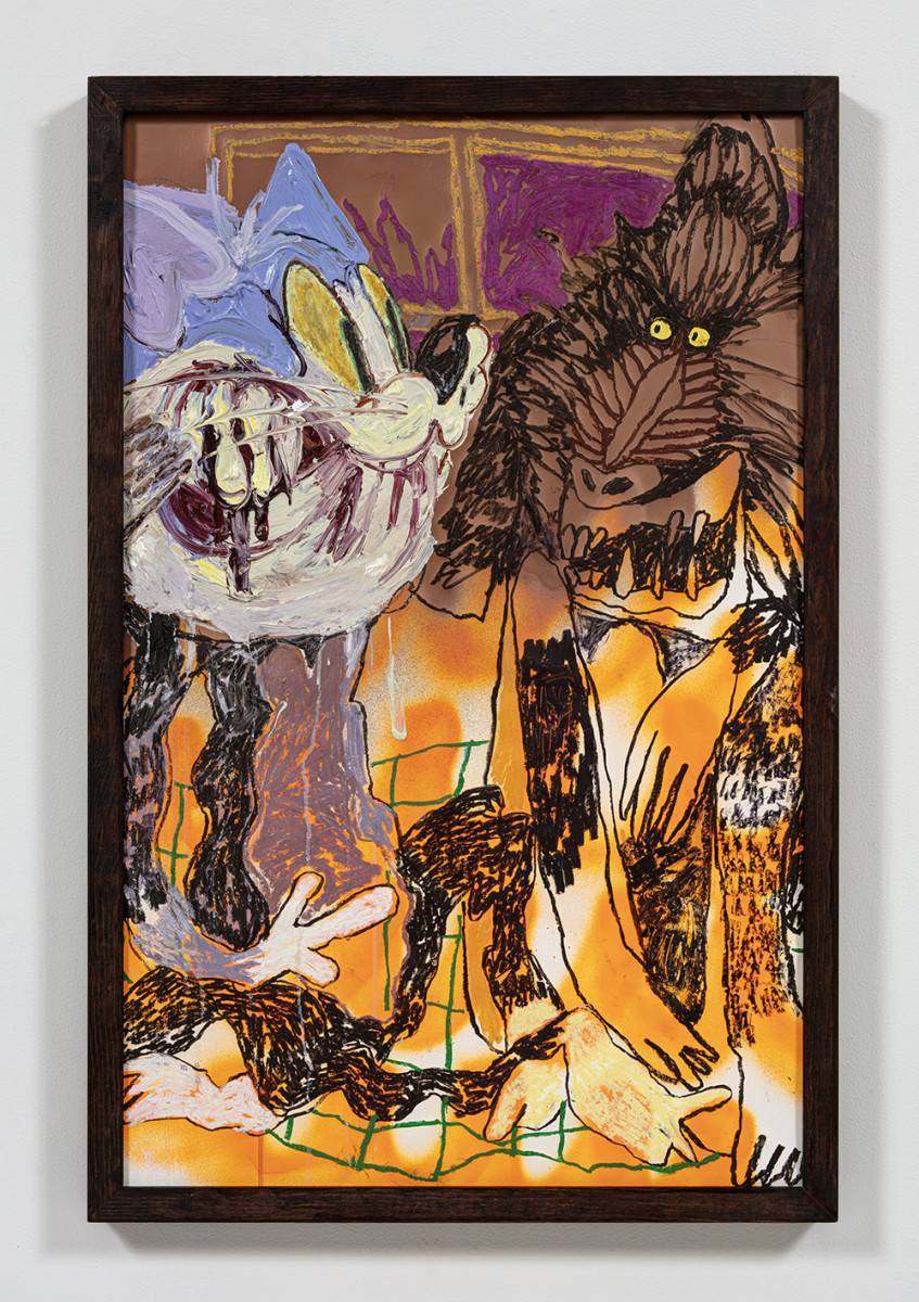 Bianca Fields. <em>Soul Tap</em>, 2021. Acrylic, oil and spray paint on yupo paper mounted on canvas with artist frame, 40 x 26 inches (101.6 x 66 cm)