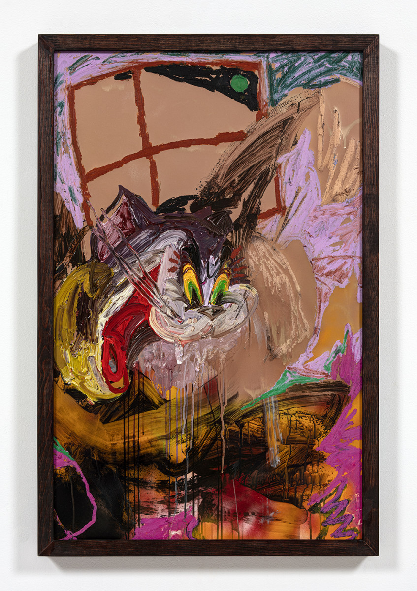 Bianca Fields. <em>The Big Wig Snatch</em>, 2021. Acrylic, oil and spray paint on yupo paper mounted on canvas with artist frame, 40 x 26 inches (101.6 x 66 cm)