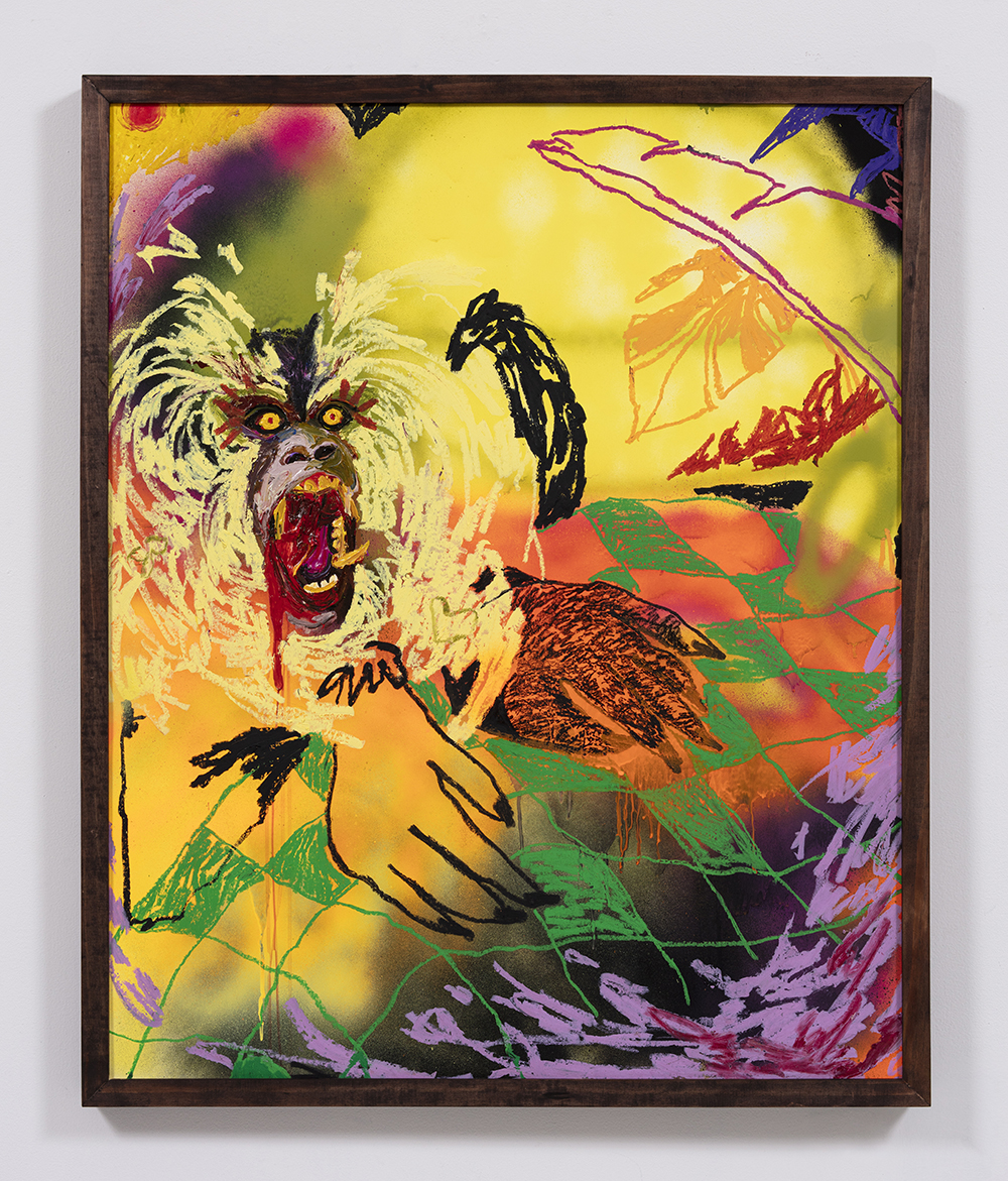 Bianca Fields. <em>Your Favorite Breakfast Bedlam</em>, 2021. Acrylic, oil and spray paint on yupo paper mounted on canvas with artist frame, 44 x 36 inches (111.8 x 91.4 cm)