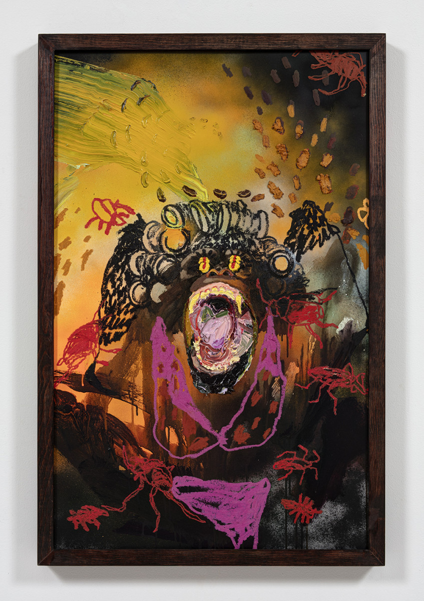 Bianca Fields. <em>Pressed Out Like Peanut Butter</em>, 2021. Acrylic, oil and spray paint on yupo paper mounted on canvas with artist frame, 40 x 26 inches (101.6 x 66 cm)