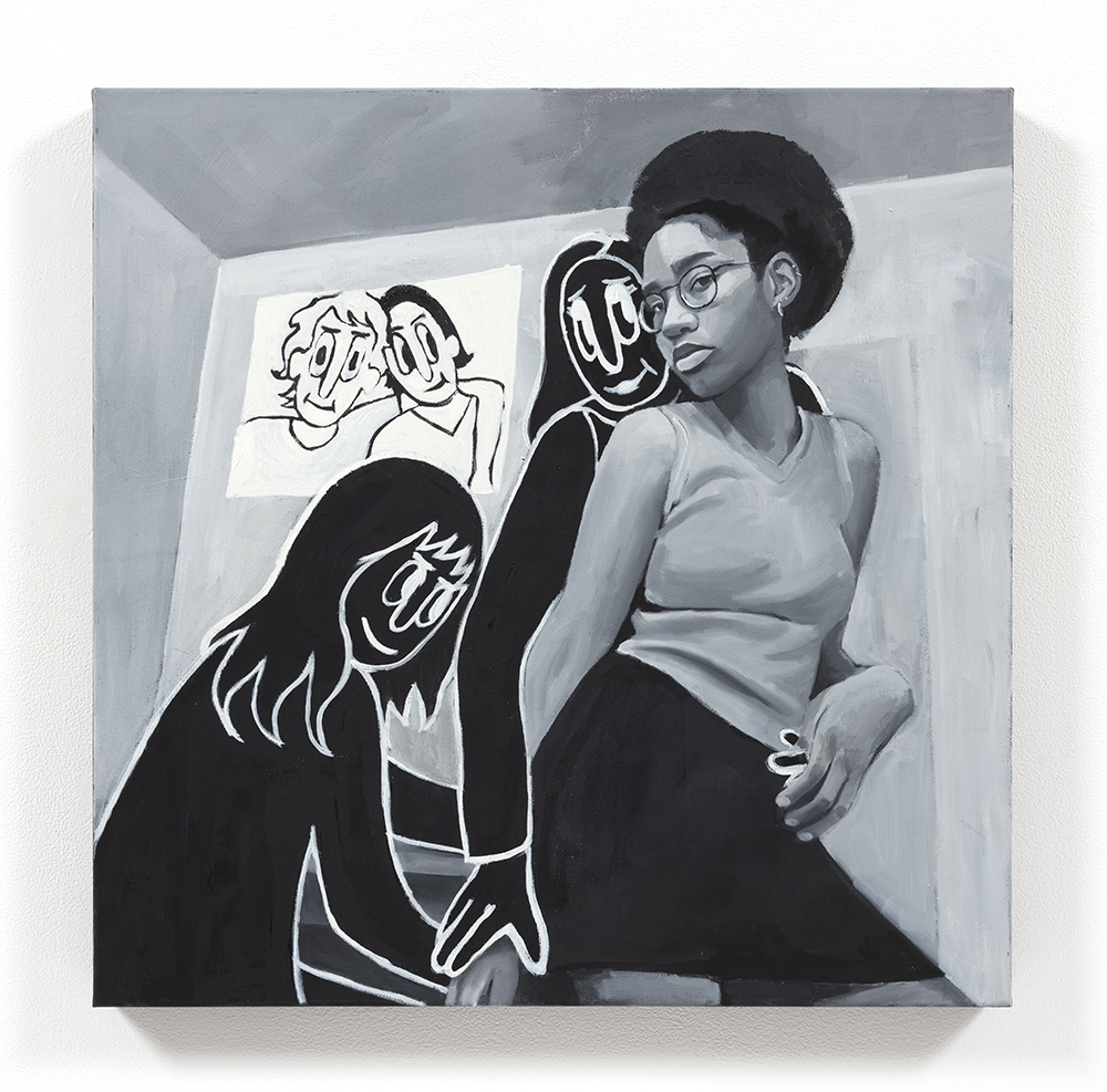 Brittany Tucker. <em>Picture in Picture</em>, 2021. Oil on canvas, 23 5/8 x 23 5/8 inches (60 x 60 cm)