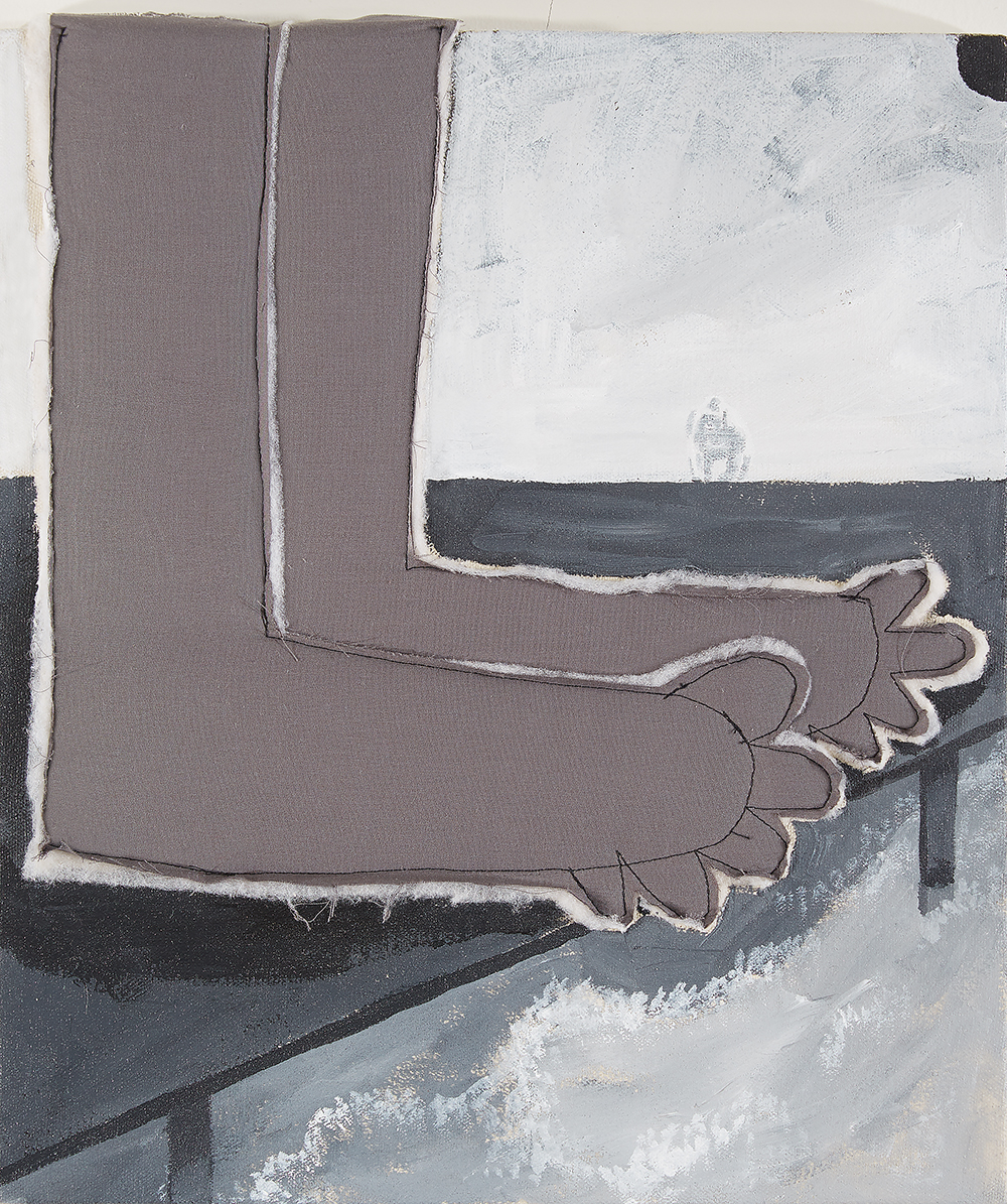Brittany Tucker. <em>How It Feels</em>, 2021. Acrylic, cotton and polyester on canvas, 12 x 10 inches (30.5 x 25.4 cm)