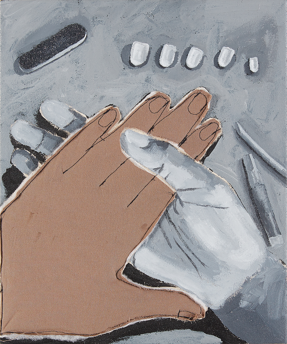 Brittany Tucker. <em>Press-ons</em>, 2021. Acrylic, cotton and polyester on canvas, 10 x 8 inches (25.4 x 20.3 cm)