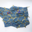 Dickens Otieno. <em>Blue in a Web</em>, 2021. Shredded aluminum woven on galvanized steel mesh, 69 3/8 x 93 3/4 inches (176.2 x 238.1 cm) thumbnail