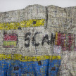 Dickens Otieno. <em>Scan</em>, 2021. Shredded aluminum cans woven on galvanized steel mesh, 66 1/2 x 56 3/4 inches (168.9 x 144.1 cm) Detail thumbnail