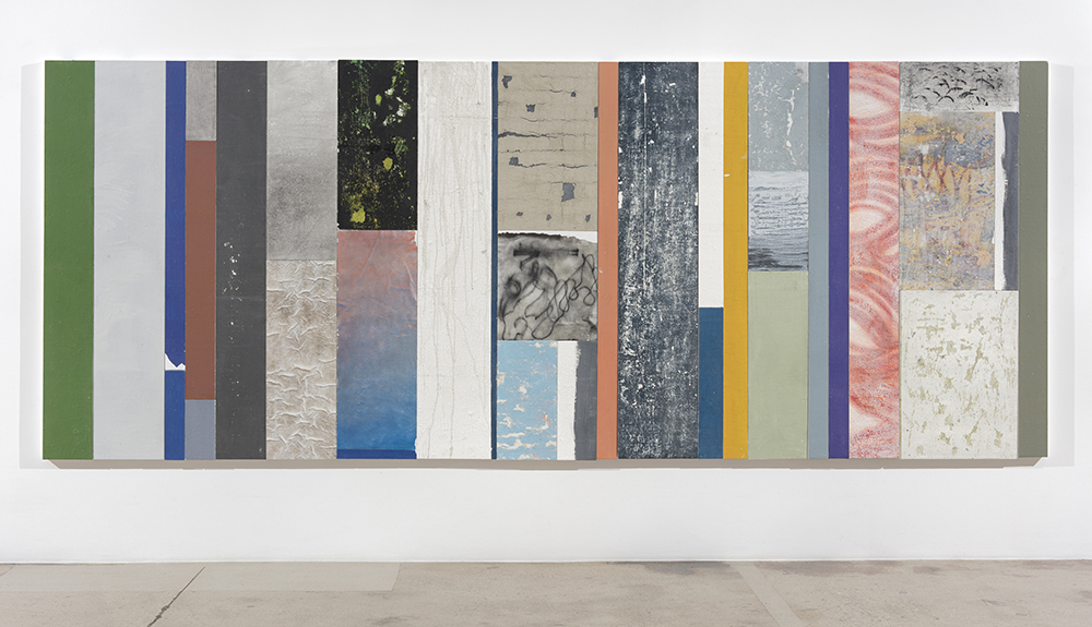 Pablo Rasgado. <em>Timescape 1</em>, 2021. Extracted acrylic, enamel, spray paint and dirt on canvas; 31 panel of varying dimensions, 78 3/4 x 196 7/8 inches (200 x 500.1 cm)