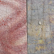Pablo Rasgado. <em>Timescape 1</em>, 2021. Extracted acrylic, enamel, spray paint and dirt on canvas; 31 panel of varying dimensions, 78 3/4 x 196 7/8 inches (200 x 500.1 cm) Detail thumbnail