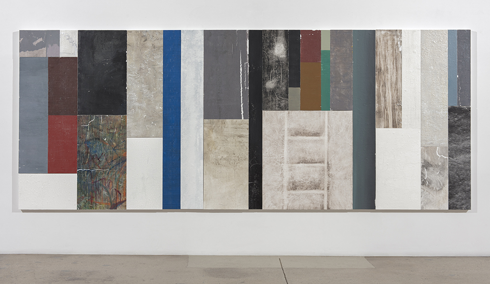 Pablo Rasgado. <em>Timescape Section 2</em>, 2021. Extracted vinyl acrylic, enamel, spray paint and undecipherable materials on canvas; 29 panels of varying dimensions, 78 3/4 x 196 7/8 inches (200 x 500.1 cm)