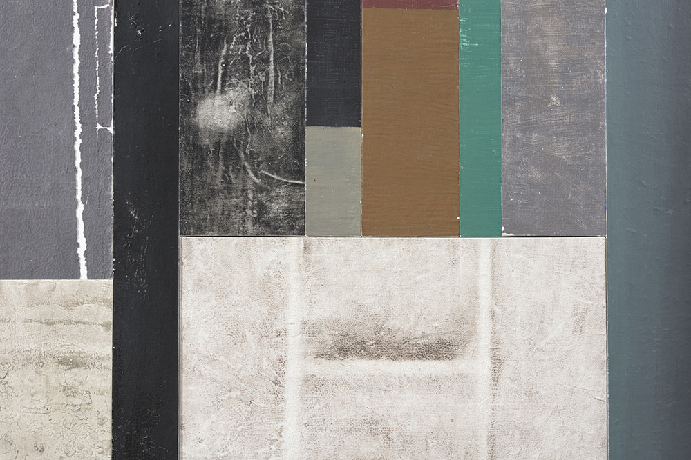 Pablo Rasgado. <em>Timescape 2</em>, 2021. Extracted acrylic, enamel, spray paint and dirt on canvas; 29 panels of varying dimensions, 78 3/4 x 196 7/8 inches (200 x 500.1 cm) Detail