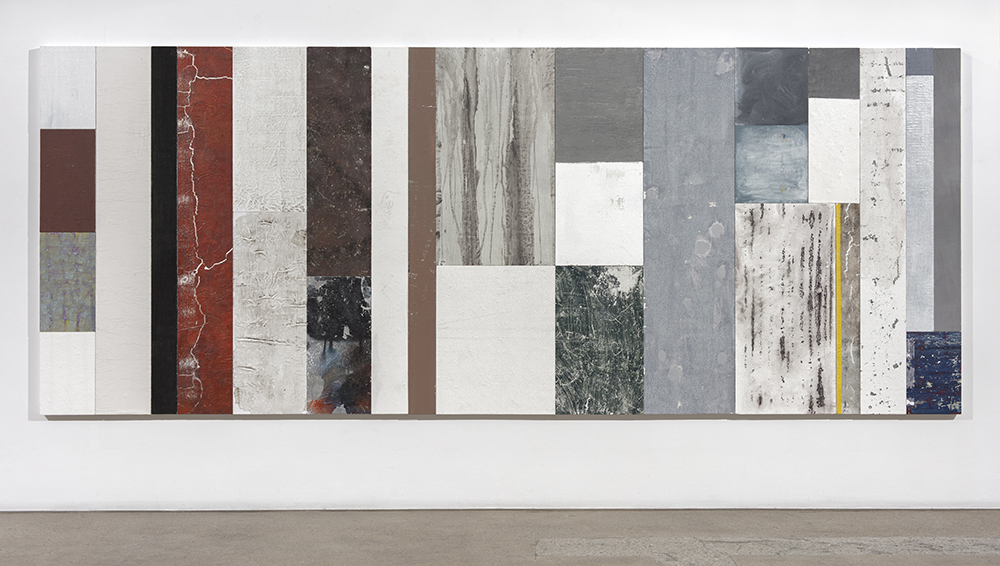 Pablo Rasgado. <em>Timescape 3</em>, 2021. Extracted acrylic, enamel, spray paint and dirt on canvas; 28 panels of varying dimensions, 78 3/4 x 196 7/8 inches (200 x 500.1 cm)