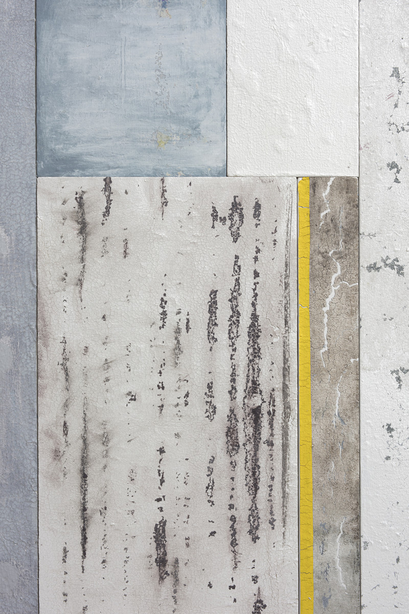 Pablo Rasgado. <em>Timescape 3</em>, 2021. Extracted acrylic, enamel, spray paint and dirt on canvas; 28 panels of varying dimensions, 78 3/4 x 196 7/8 inches (200 x 500.1 cm) Detail