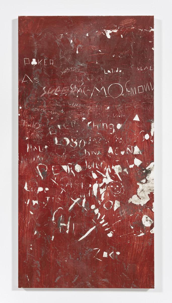 Pablo Rasgado. <em>Calle Dahlia (Poker)</em>, 2021. Extracted acrylic, enamel, spray paint and dirt on canvas, 79 x 39 1/2 inches (200.7 x 100.3 cm)