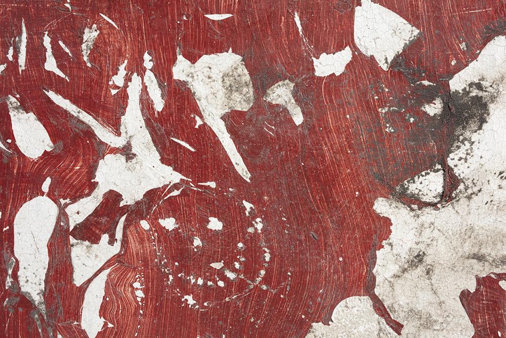 Pablo Rasgado. <em>Calle Dahlia (Poker)</em>, 2021. Extracted acrylic, enamel, spray paint and dirt on canvas, 79 x 39 1/2 inches (200.7 x 100.3 cm) Detail