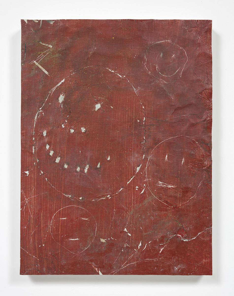 Pablo Rasgado. <em>Calle Dahlia</em>, 2021. Extracted acrylic, enamel, spray paint and dirt on canvas, 24 x 18 inches (61 x 45.7 cm)